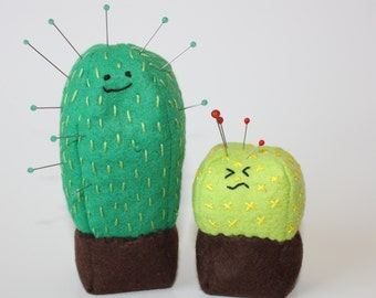 Pincushion Pattern, Cute Cactus, Kawaii Cacti, Wool Felt Pincushion Pattern, embroidered pincushion pattern, PDF pattern, cactus pincushion
