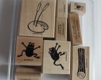 Stampin Up, Two step stamping, Hoppy for You, Frog stamps, lily pad stamp, fly stamp, card making supply, scrapbook supply, rubber stamps