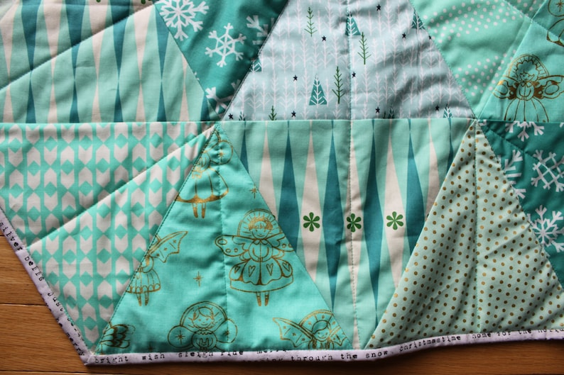 aqua and teal Christmas Patchwork Quilted tree skirt