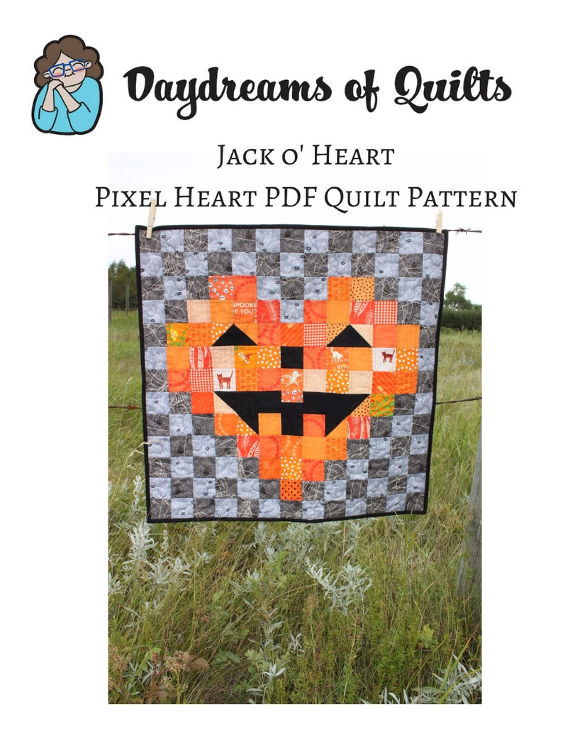 Halloween Quilt Pattern Jack-O-Lantern Pixel Heart Quilt image 0