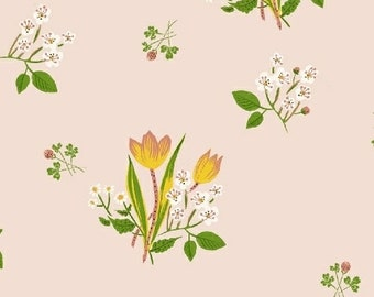 Heather Ross Kinder Fabric, floral print on pink, Windham Fabrics SKU 43482-1, half yard quilting cotton, flower fabric, floral fabric