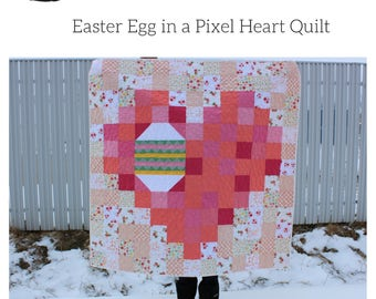Easter Egg in a Pixel Heart PDF Quilt Pattern - charm square pattern - fat quarter pattern - Easter Quilt Pattern - Easter Egg Quilt