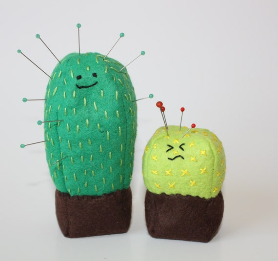 Cute Cactus Kawaii Cacti Wool Felt Pincushion Pattern Etsy