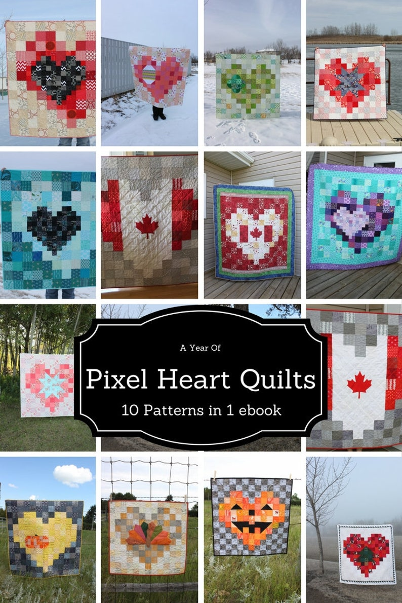Heart Quilt Patterns Quilt ebook Pixel Heart Quilt Patterns image 0