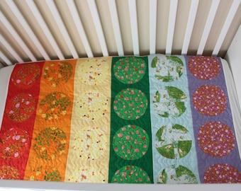 Modern Circles Rainbow Quilt Crib and Lap/Twin Sizes PDF Quilt Pattern using Drunkard's Path Blocks