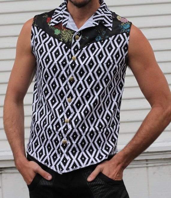 Buttons Print EDITION Cowboy Shirt Asian White Snap Mens and Sleeveless Cosmic with LIMITED and Black Black Flowers Diamond gqXXTn