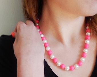 Pink and White Swarovski Pearl Set