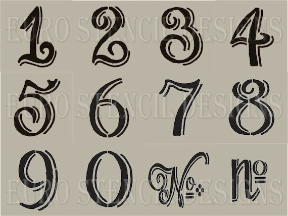 Euro Stencil Designs Chalk Board Hand Style Shaded Numbers 12