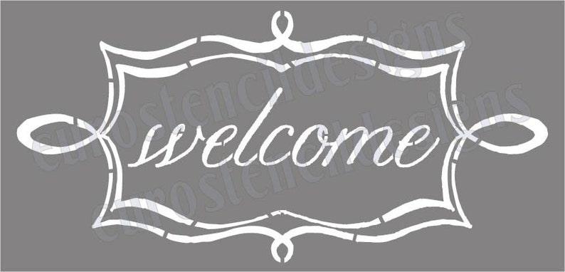 31eefac8fc Euro Stencil Designs Welcome in scroll Chalk Frame 5.5x11.5