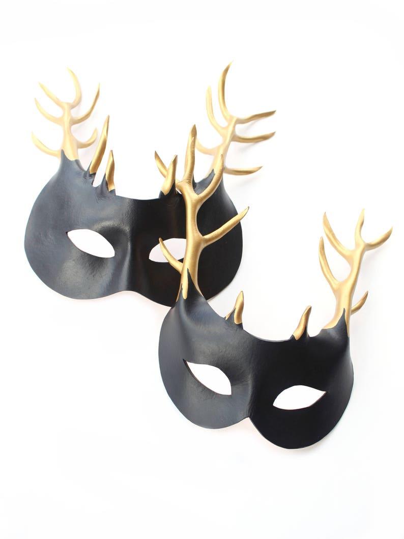 Handmade UK Black Gold Leather Stag Deer Antler Masks Couples Men or Womens
