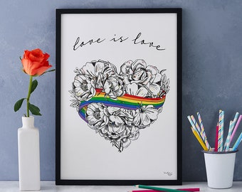Love is Love LGBTQ Pride A4. A3 and Giclee Prints