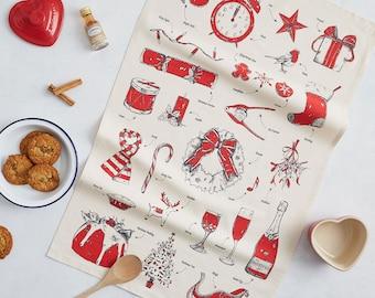 Christmas Tea Towels, Festive dish cloth, Santa, Reindeer, Holidays, Mistletoe, Wreath