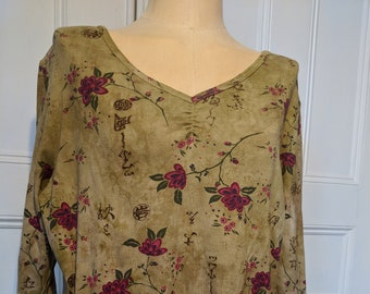 Tan & Floral Kaylee Frye XL Top - Ready to Ship