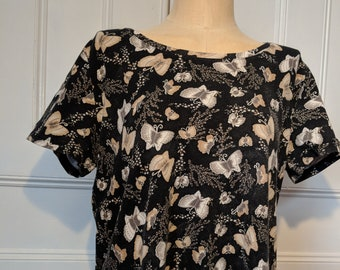 XL Kaylee Frye Black and White Butterfly Top - Ready to Ship