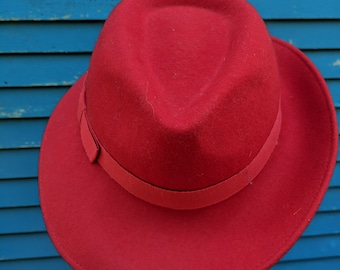 Agent Peggy Carter Wool Red Fedora Trillby Hat