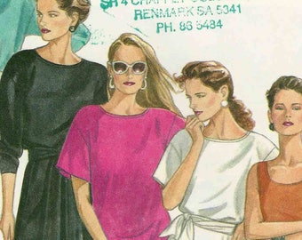 Sewing pattern New Look 6253 Pullover tshirt dress high low scoop neck with/out sleeves for stretch knits only Size 8-10-12-14-16-18 uncut