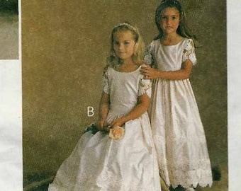 McCalls 9141 Flowergirl party dress shaped waist gathered skirt floor or street length Cut to Size 5 Alicyn sewing pattern