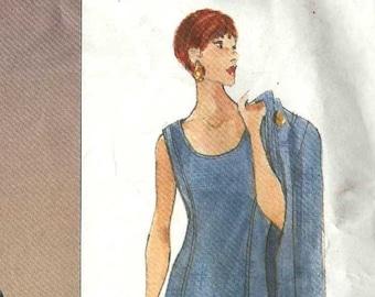 Vogue 1404 Straight dress scoop neck loose jacket button front inseam pockets princess seams Size 8-10-12 Oscar de la Renta (Uncut)