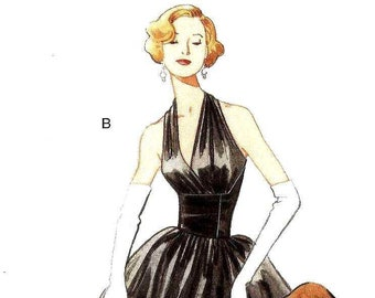 Vogue 2962 Halter Evening Gown gathered into fixed fitted waist long short length gathered skirt Size 4-6-8-10 Repro 1957 (uncut)