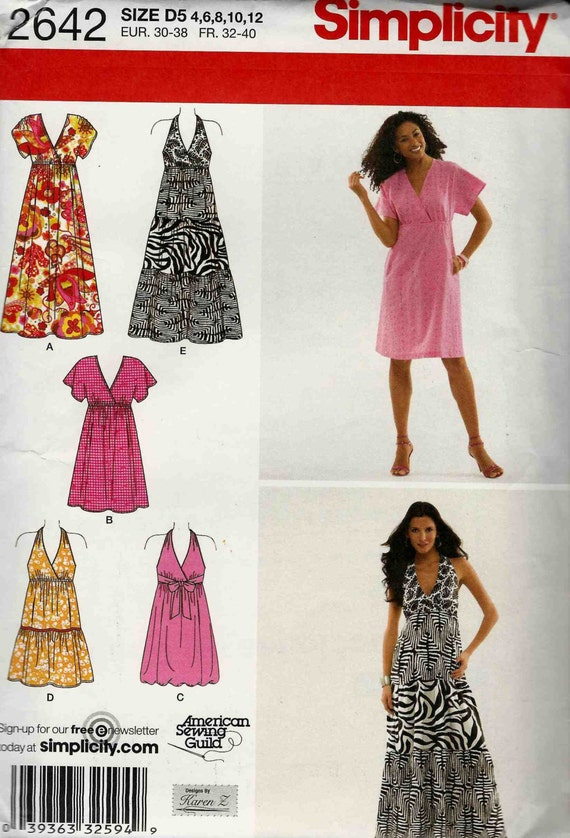 Sewing pattern Simplicity 2642 Halter neck dress or crossover | Etsy
