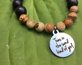 Laser engraved Toes in the Sand kind of Girl stainless steel charm on wood bead and jasper mala meditation bracelet unisex