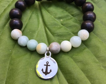 Laser engraved Nautical Anchor stainless steel charm on wood bead and amazoniteamala meditation bracelet unisex