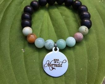 Laser engraved Soul of a Mermaid stainless steel charm on wood bead and amazonite mala meditation bracelet unisex