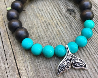 Beautiful tail of a whale with wood beads and turquoise gemstone mala meditation bracelet unisex