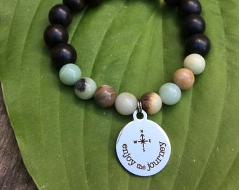 Laser engraved Enjoy the Journey stainless steel charm on wood bead and amazonite mala meditation bracelet unisex