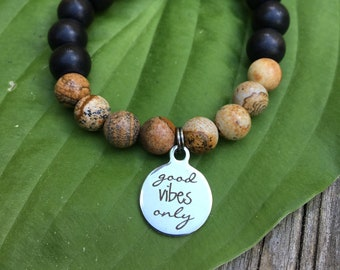 Laser engraved Good Vibes Only stainless steel charm on wood bead and jasper mala meditation bracelet unisex