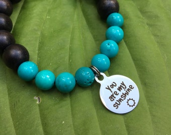Laser engraved You are my Sunshine stainless steel charm on wood bead and turquoise mala meditation bracelet unisex