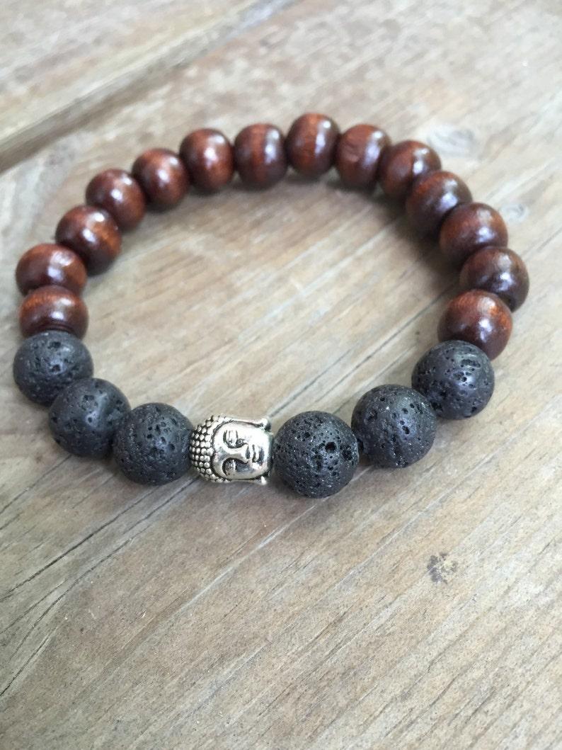 07b9fb17faba Pulsera de meditación yogui inspirado grano marrón de madera