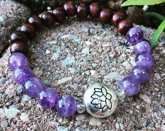 Yogi-inspired brown wood and amethyst gemstone mala meditation yoga bracelet with silver lotus flower bead
