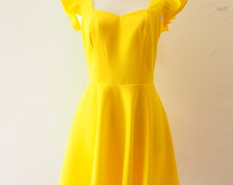 8b912d9ee41c Lemon Dress Lemon Canary Yellow Dress Swing Dance Dress Party Dress Prom  Bridesmaid Dress Short Cocktail Dress Vintage Summer Dress Sundress
