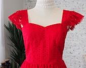 Red Sundress Summer Dress Sleeve Dress Party Dress Red Lace Dress Bridesmaid Dress Sweetheart Dress Ruffle Straps Vintage Style Swing Dress