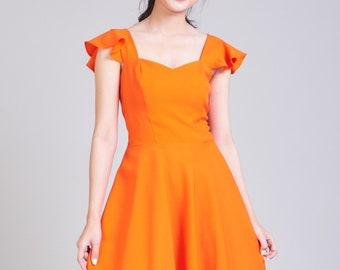 e4efe8e5c395 OLIVIA - Orange Dress Orange Bridesmaid Dress Swing Dance Dress Tangerine  Dress Ruffle Sleeve Sundress Sweetheart Prom Dress Summer Dress