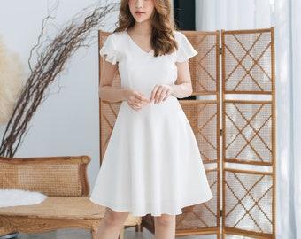 4407000dbb2 White Party Dress Ruffle Sleeve Dress Swing Skirt Fit and Flare Dress white  Sundress Vintage Inspired Prom Dress White Summer Dress -Alita