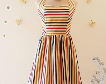 2308622e1dd Cute Sun Dress Retro stripe dress sundress Swing Dance Dress colorful  vintage inspired dress summer dress party dress rainbow party dress
