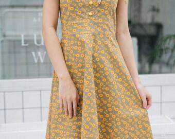 7d57a428f74e Sundress Summer Dress -Mia - Sunflower Dress Cotton Dress Slip Dress Brown  Tea Length Vintage Floral Dress School Dance Dress