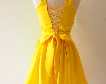 Yellow Prom Dress Etsy