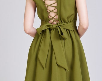 Olive Green Dress Etsy