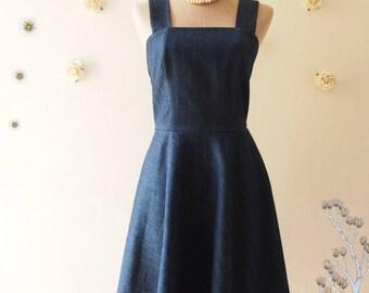 f16b2d41159 Denim Dress Holiday Casual Shoulder Strap Dress Summer Dress Denim Vintage  Sundress Modest Dress Gossip Girl Dress Navy Blue Dress