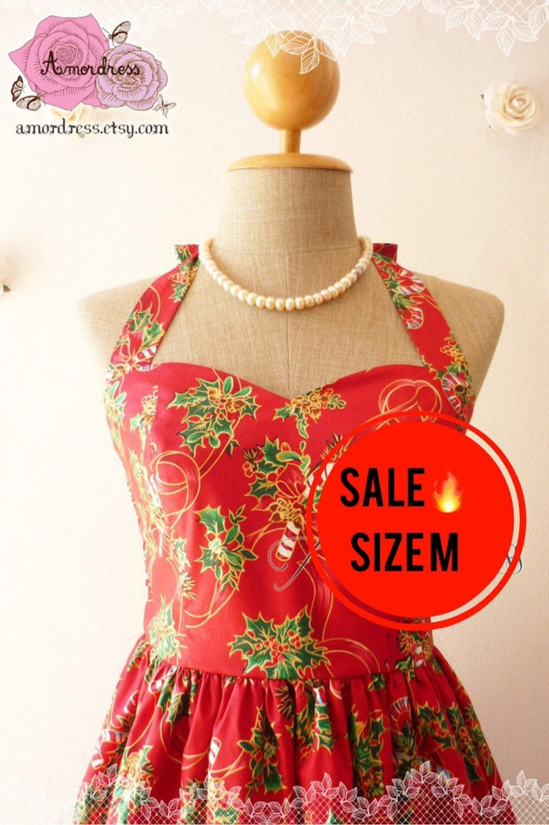SALE Size M Christmas Party Dress // Red Christmas Candy image 0