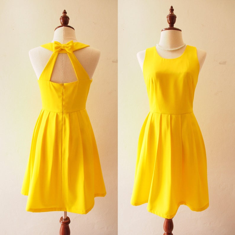 03ae2af8e7 LOVE POTION Lemon Yellow Dress Canary Yellow Dress Backless