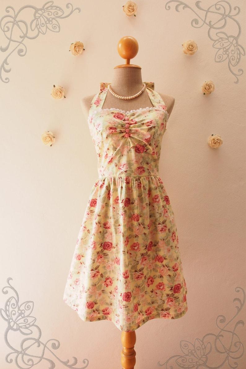47aad0ebd2f Size XS Yellow Floral Dress Pastel Yellow Sundress Wedding
