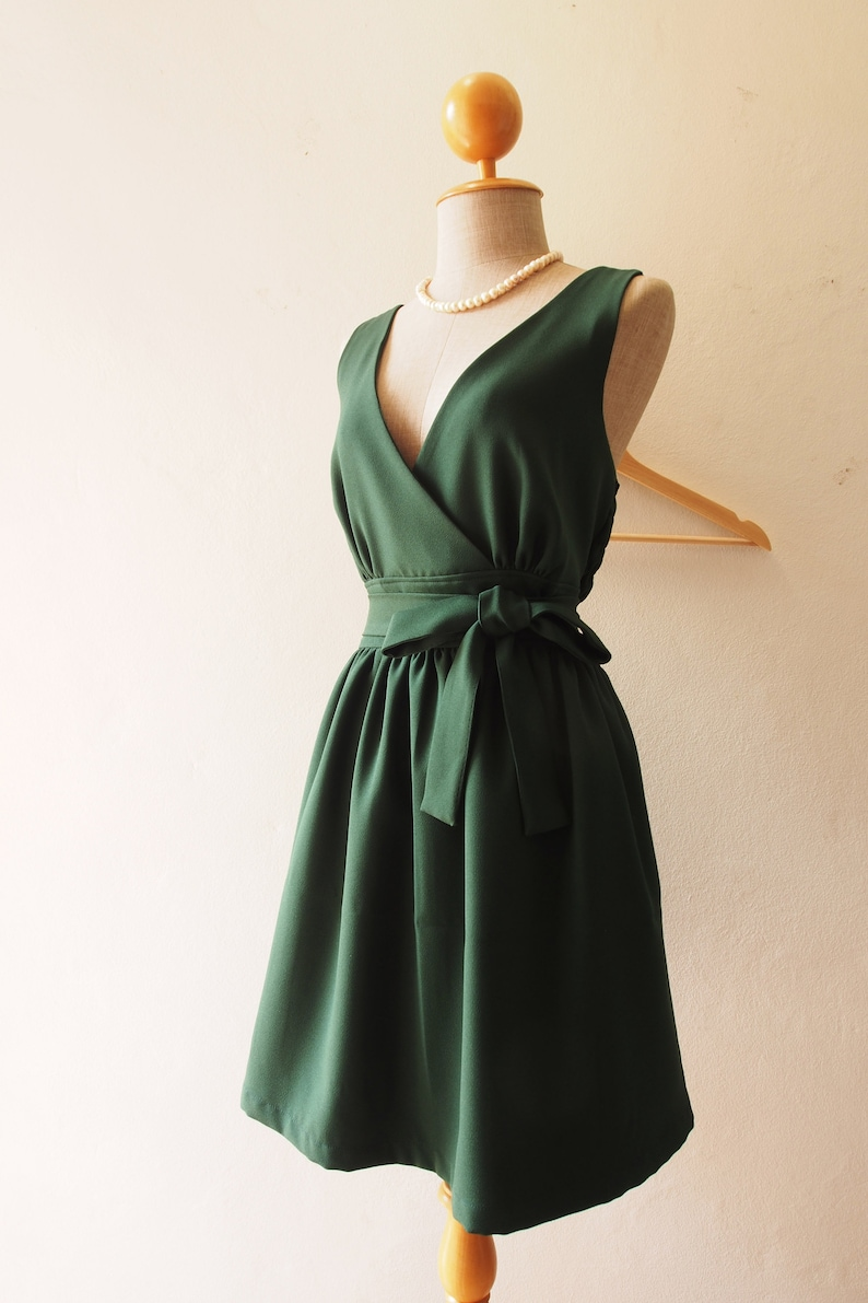 Green Bridesmaid Dress Forest Green Party Dress V Neck image 0
