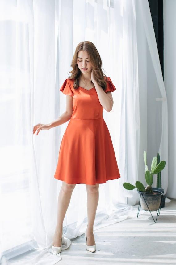 Robe De Soiree Orange Cuivre Prom Robe Couleur Royale Etsy