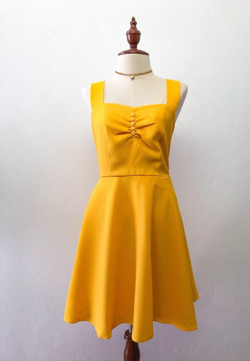 Yellow Vintage Strap Sweetheart Dress Mustard Sundress Swing image 0