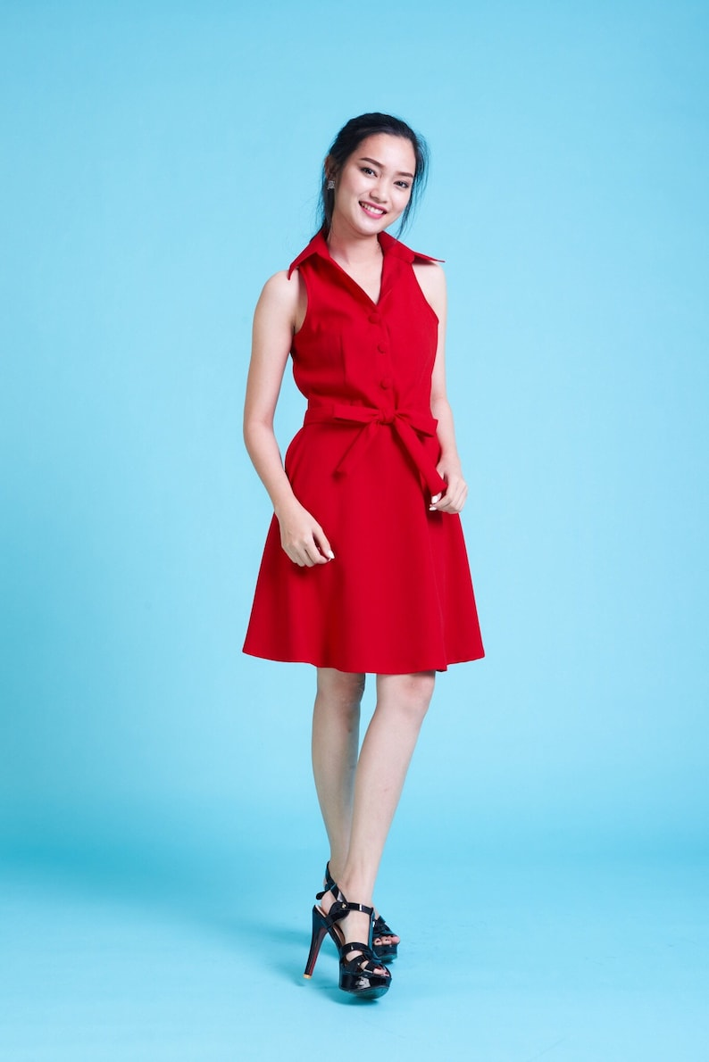 207fffa8765 DOWNTOWN Scarlet Red Dress Red Swing Dance Dress Red