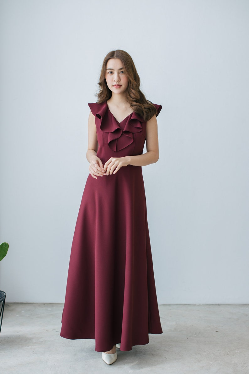 6dee03718d68 Maxi Dress 2019 Prom Dress Burgundy Dress Maroon Dress Elegant | Etsy